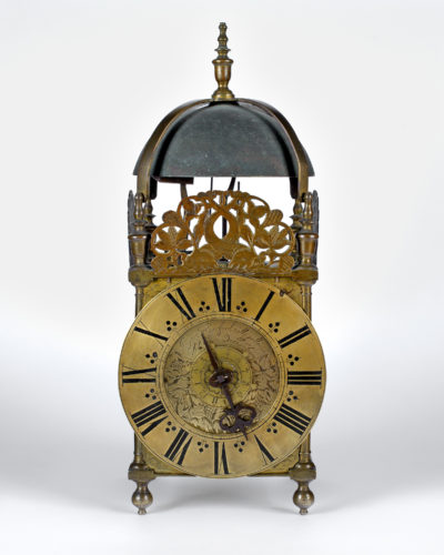 A classic London style Third Period lantern clock made by the English Roman Catholic Ignatius Huggeford, living and working in exile in Florence circa 1690.