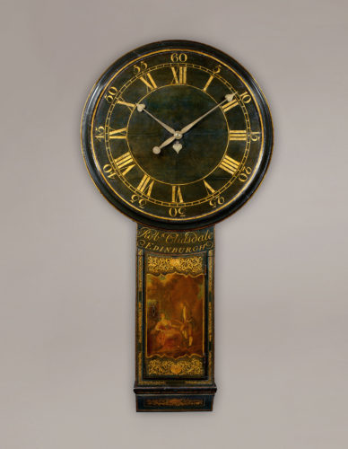 A rare Scottish tavern clock by well-known Edinburgh maker, Robert Clisdale; with 8-Day timepiece movement. The trunk door is decorated with a risqué scene of a gentleman offering his lady a salmon within a gilt and black chinoiserie background. Height: 56 in (142 cm) Dial Width: 28 ¾ in (73 cm)