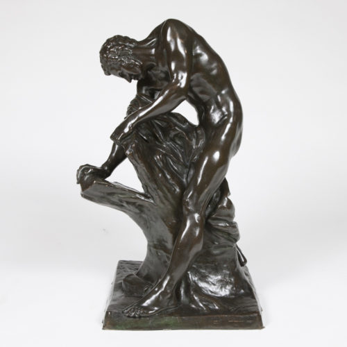 A late 19th century bronze of Milo de Croton in the Louvre, height 74 cm.