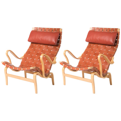 Pair of Birch Lounge Chairs by Bruno Mathsson, Sweden circa 1950