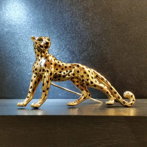 Cartier gold panther brooch c. 1980's