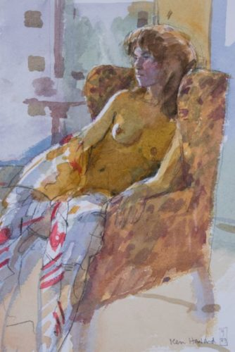 Ken Howard, Valerie Seated Waterclolour; 27 x 18 cms