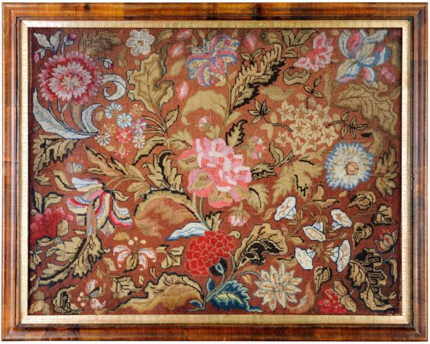 Floral Woolwork panel worked by ten year old Mary Ann Clark in 1804 . In fine condition and retaining good original colour . Framed size 73cm x 58 cm. Fully conservation mounted and framed behind UV conservation glass .