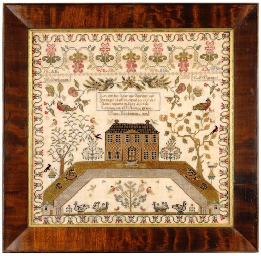 Fine Edinburgh sampler worked by Ann Buchanan in 1839 . Ann has worked her typical Scottish house sampler in fine silk coloured thread on a fine linen ground . The sampler is in excellent original condition retaining good original colour. Framed size 50 cm x 50 cm . Fully conservation mounted and framed behind UV conservation glass .