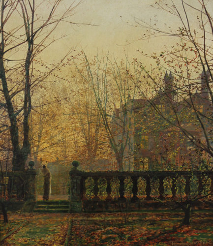 JOHN ATKINSON GRIMSHAW 1836-1893 Autumn Glow Oil on artist's board, signed and dated 1882 16½ x 13¾ in.