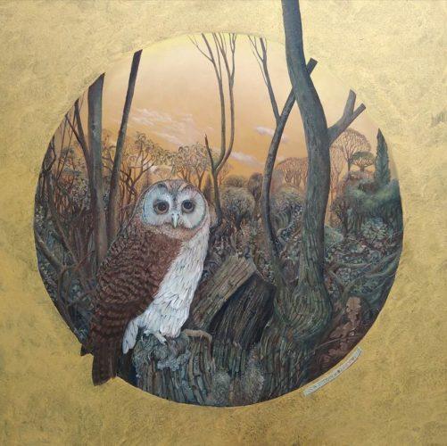 "Sean Jefferson b. 1957 A tawny owl 24"" x 24"""