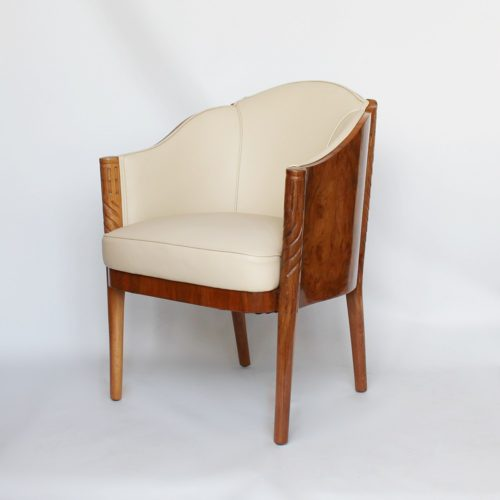 One of a pair of Maurice Adams Art Deco armchairs