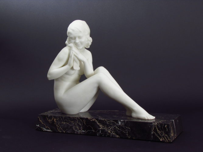 'Jeune Femme a la Columbe' c.1925 By L. Morelli (Italian) Carrara Marble on green marble base. Height: 30cm