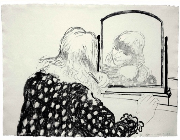 David Hockney, 'Ann Combing her Hair' Lithograph; 79 x 58 cm