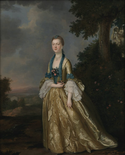 John S C Schaak (fl. 1760-1770), Portrait of a lady, full length, a landscape beyond