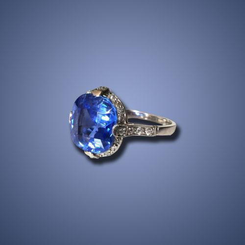 Art Deco Kashmir Sapphire (6ct) and Diamond Ring, ca. 1920s