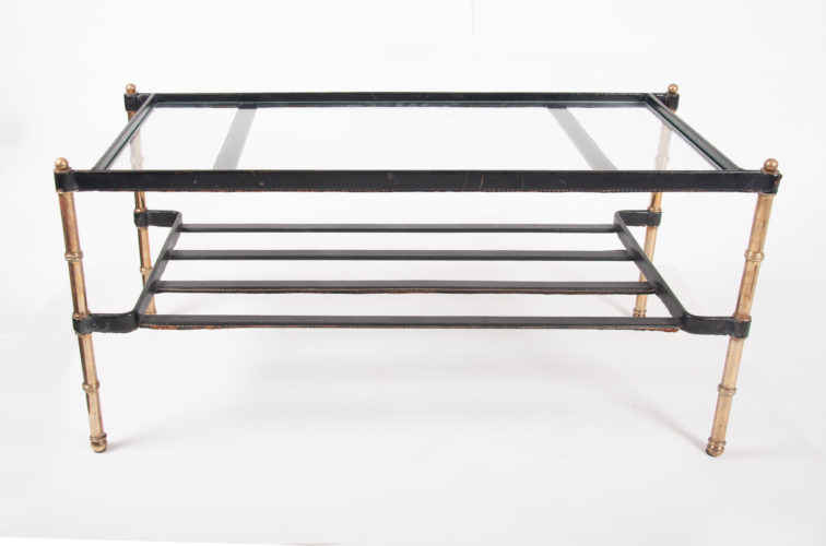 Leather and brass table by Jacques Adnet, France circa 1950