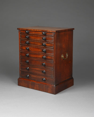 George III period mahogany collectors chest.