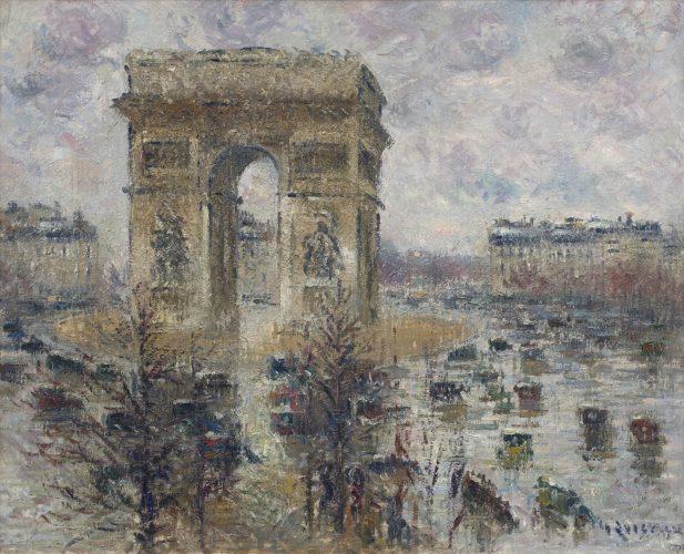 """Gustave Loiseau (French, 1865 - 1935) """"La Place de l'Étoile, Temps Pluvieux"""""""
