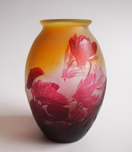 Emile Galle signed cameo cyclamen vase c 1900