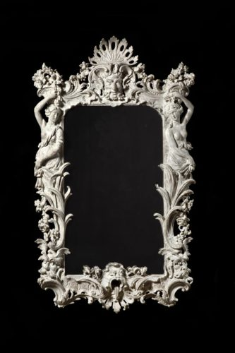 A Magnificent George II Carved and Painted Mirror in the manner of Thomas Vardy