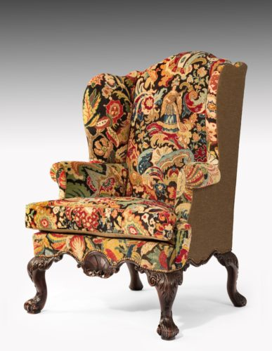 An Exceptional George II Walnut and Needlework Wing Chair
