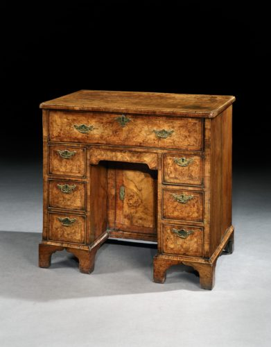 A Rare George II Burr Walnut Kneehole Desk