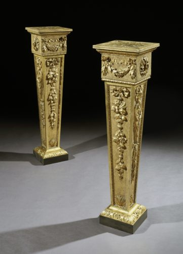 A Pair of George II Giltwood Pedestals attributed to Benjamin Goodison from Longford Catle