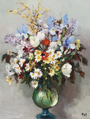 Marcel Dyf Still Life of Flowers in a Glass Vase oil on canvas 29 x 23 1/4