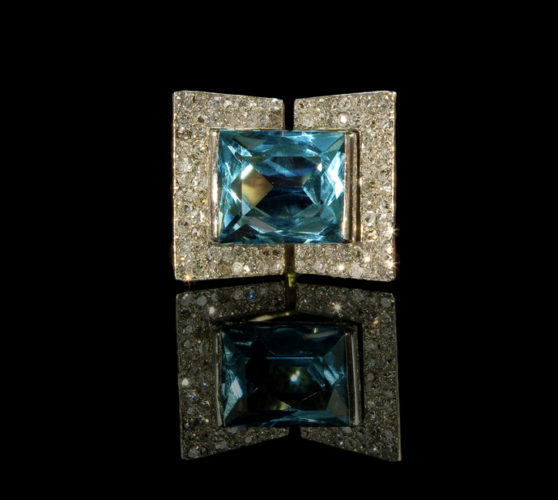 Rare Art Deco Period Modernist Design Aquamarine & Diamond set Ring,Mounted in Gold & Platinum by Vergers Freres, Paris, circa.1930s
