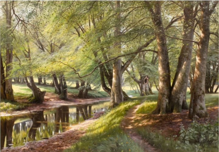 "Peder Mørk Mønsted 1859 – 1941 ""A Summer Day in the Forest with Deer in the Background"" Nationality: Danish Canvas size: 28"" by 40"" Frame size: 35.5"" by 47.5"" Oil on canvas, signed and dated 1908"