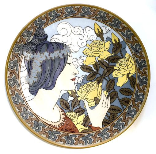 Large Art Nouveau pottery charger by Robert Fournier for Mettlach, Germany c1900