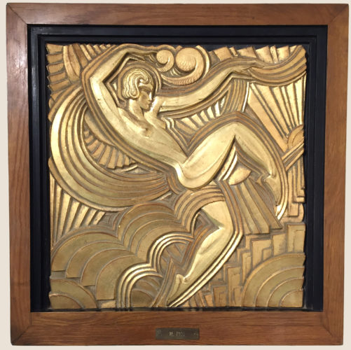 Art Deco gilded gesso plaque in oak frame by Maurice Picaud for The Folie Bergère, France c1930