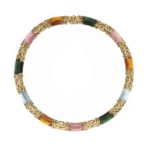 18ct Gold and Carved Gemstone Necklace by Bvlgari