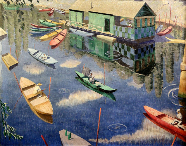 Norman Lloyd (Australian 1897 - 1985) 'Summer on the Seine' Oil on canvas, signed lower right Image size: 30 x 38 inches Hand made frame
