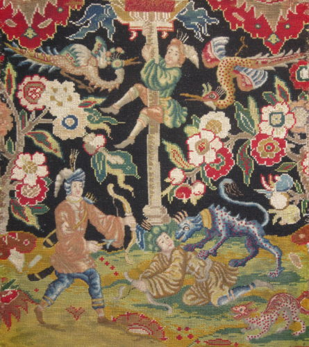 French needlework chair seat and back (detail), circa 1720-1740. Worked in silks and wools, the figures and animals in petit point.