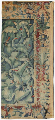 "A giant leaf tapestry fragment. Southern Netherlands, circa 1550. A very similar complete tapestry, of comparable height and 310cm wide, is in the collection of the Musée des Arts Decoratifs, Paris (inv no. 38055). 10'11"" (333cm) high and 4'10¼"" (148cm) wide."