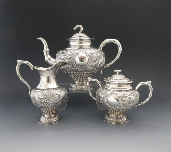 Chinese silver teaset. Woshing of Shanghai, c. 1900