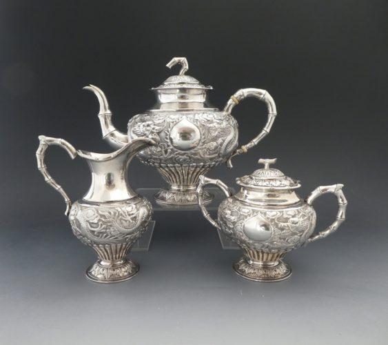 Chinese silver teaset. Woshing of Shanghai, c. 1900