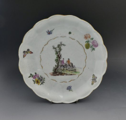 Vauxhall porcelain, London, c.1755. A rare polychrome printed plate.