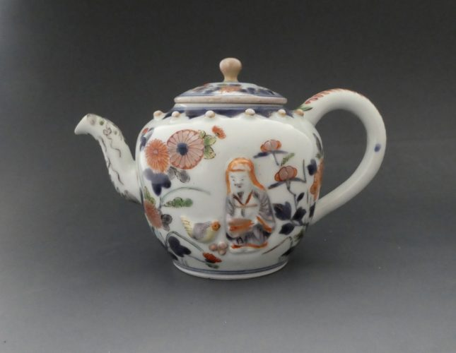 Arita porcelain. Rare moulded teapot painted in the. Imari style. c. 1700.