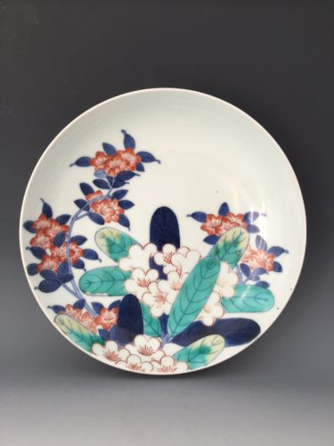 Nabeshima porcelain dish, painted with flowering rhododendrons. Japan, c. 1700.