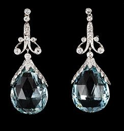 Platinum Diamond and Faceted Aquamarine Drop Earrings c1920 or 1930