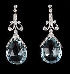 Platinum Diamond and Faceted Aquamarine Drop Earrings c1920 or 1930