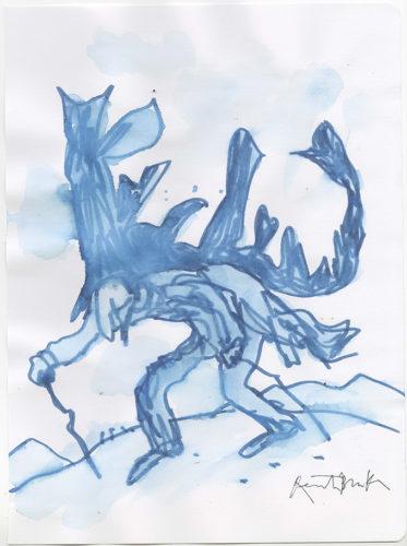 Quentin Blake Burdened Man Watercolour; 30 x 23 cms