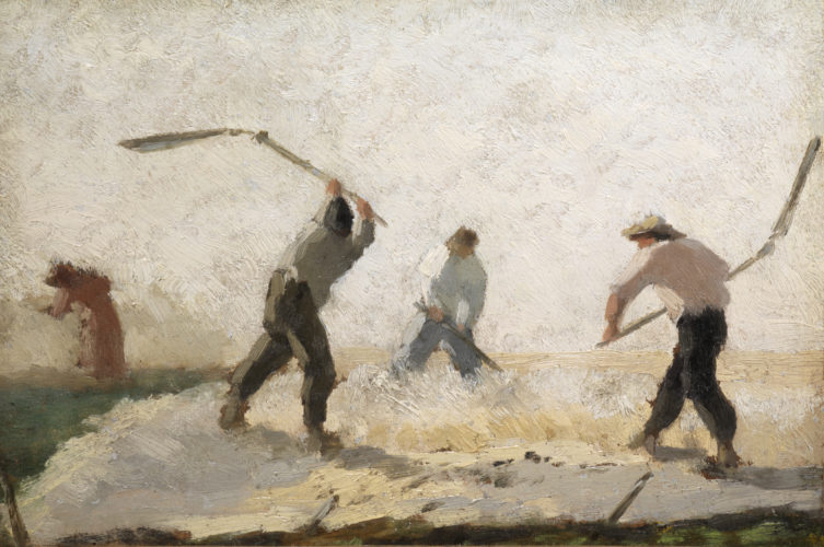 Charles Emile Jacque - Threshing - oil on paper, laid-down on canvas - c.1859 - a plein-air study for an image published in the Illustrated London News - 15x22 cms