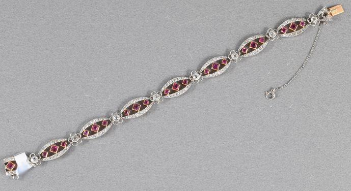 Rare natural unheated Burmese ruby diamond platinum bracelet 1910c