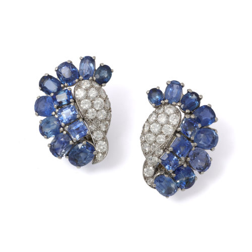 René Sim Lacaze (1901–2000) Diamond and sapphire earrings. France, circa 1950