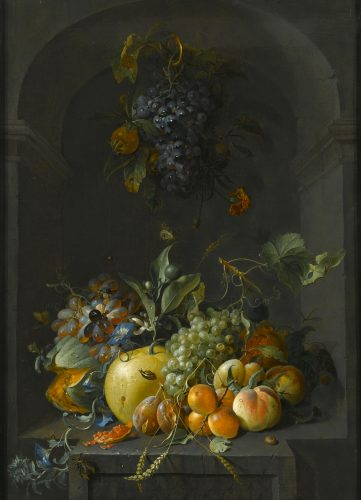COENRAET ROEPEL (THE HAGUE 1678 - 1748) Still Life of Grapes, Melons, Peaches, Plums and other Fruit with Morning Glory and Shafts of Wheat in a Stone Niche, with a Bunch of Grapes and Medlars Hanging Above oil on canvas 85.1 x 57.8 cm (33½ x 22¾ in)
