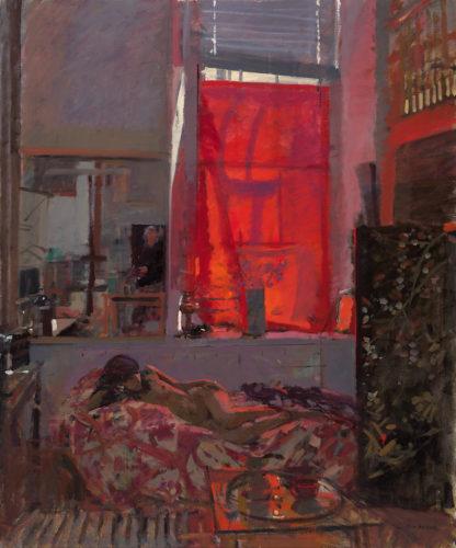 Ken Howard - Sarah, Harmony, Red & Grey 1990 - Oil on Canvas - 48