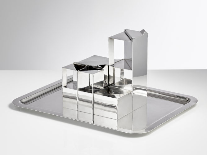 "A Late 20th modernist Cafe and Tea set entitled Geometrie Date 1971 Created by Henri Bouilhet (Born 1931 ) He was Director of the design department at Christofle at the time he designed this piece. The set when interlocked measures 7 "" square The coffee pot H 8"" W 3"" Teapot H 4"" W 4"" sugar H 2 1/2"" W 3"" The two small jugs H 4"" It also comes with its original tray"