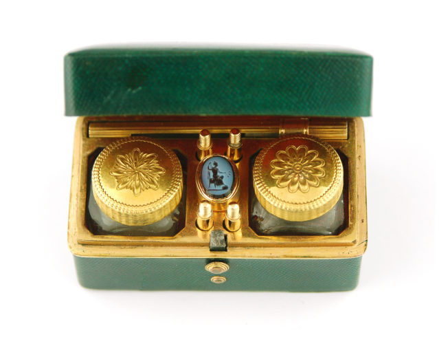 Shagreen and copper gilt traveling inkwell C1765