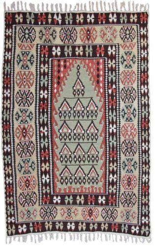 Silk Erzurum Anatolian Kilim, circa 1890 - 140 x 87 cm