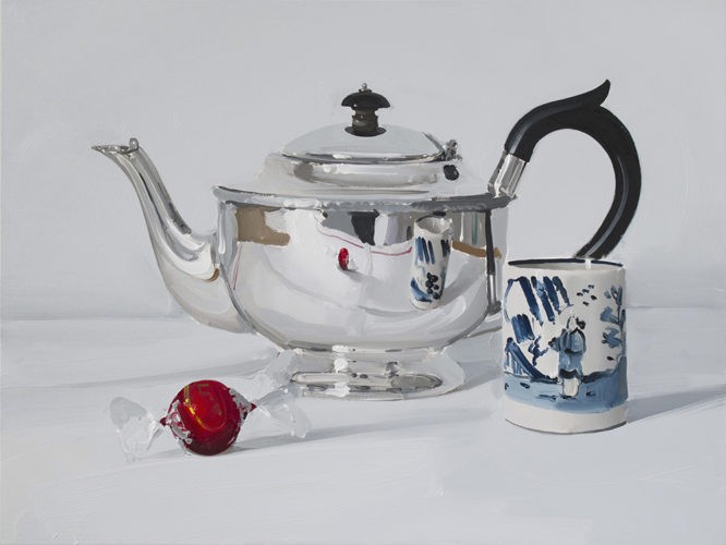 'Silver Teapot with Chocolate and Cup' by Alan Kingsbury RWA (b.1960)