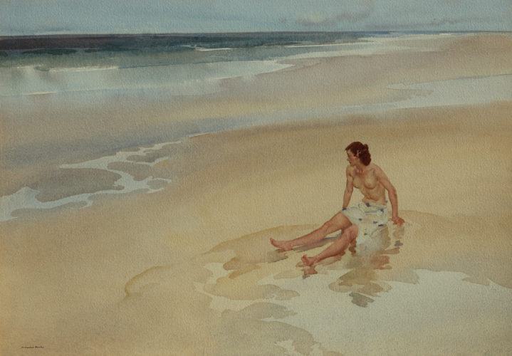 Sir WILLIAM RUSSELL FLINT RA PRWS 1880 – 1969 On the Beach Watercolour, signed 20 x 26 in. .